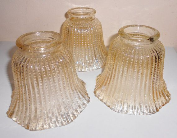 Vintage Carnival Glass Lamp Shades Beaded Amber By