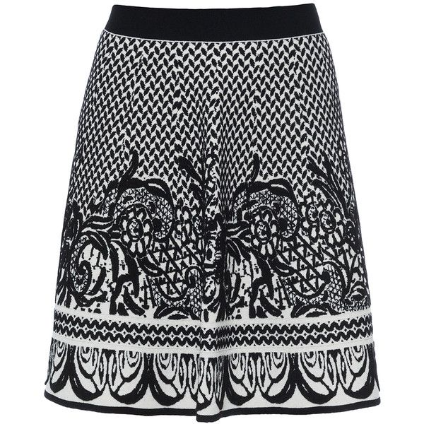 D.Exterior Black And Ivory Jacquard Knit Skirt ($101) ❤ liked on Polyvore featuring skirts, white, floral skirt, floral print skirt, white floral skirt, flared skirt and white circle skirt