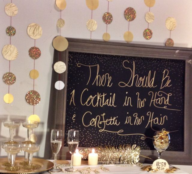 NYE 2014 Champagne bar on eclectic southern charm. With better handwriting.