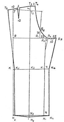 Выкройка задней половинки мужских брюк