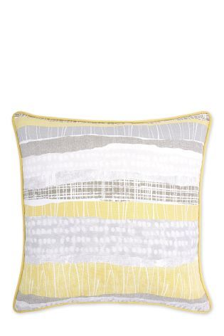 Buy Ochre Textured Printed Stripe Cushion from the Next UK online shop