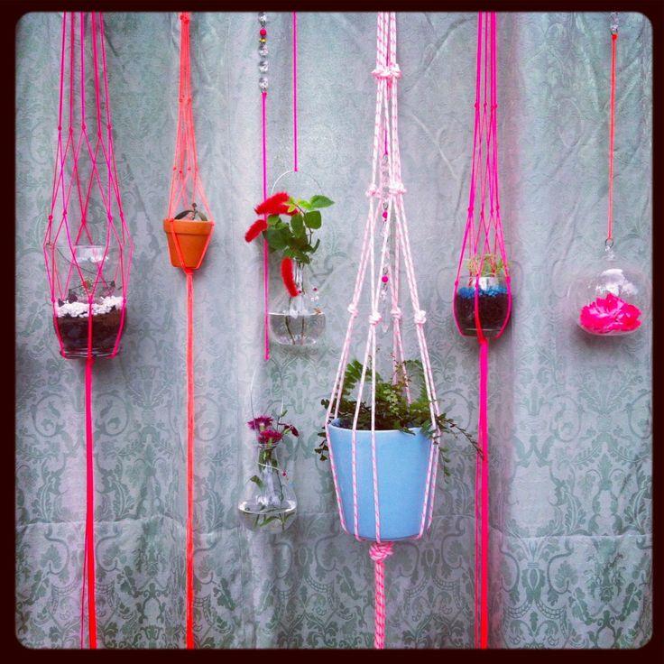 mini macrame hanging garden
