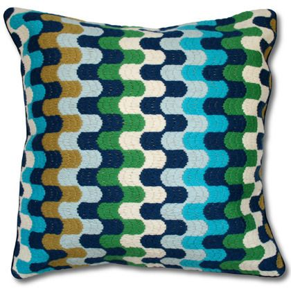 Bargello pillows, hand embroidered using long stitches to form elaborate geometric patterns,blue bargello puzzle pillow, Jonathan Adler, bargello, Pillow