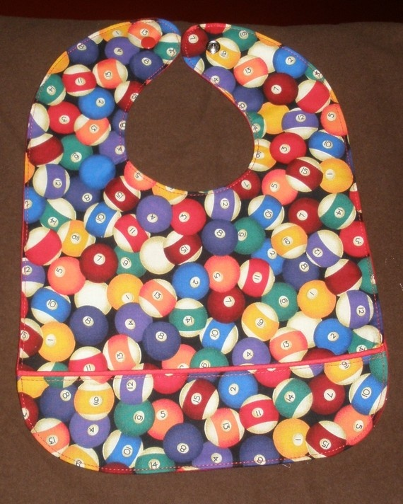 Pool Balls Waterproof Bib With Red Lining