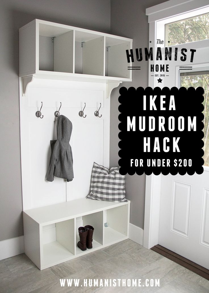 Cheap DIY mudroom bench and storage from IKEA Stolmen units for under $200. Links to tutorial.