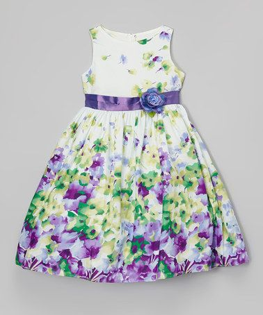 Another great find on #zulily! Green & Purple Floral Dress - Toddler & Girls #zulilyfinds
