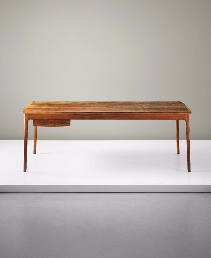 Ole Wanscher; Rosewood And Brass Extendable Desk For A.J. Iversen, C1959.