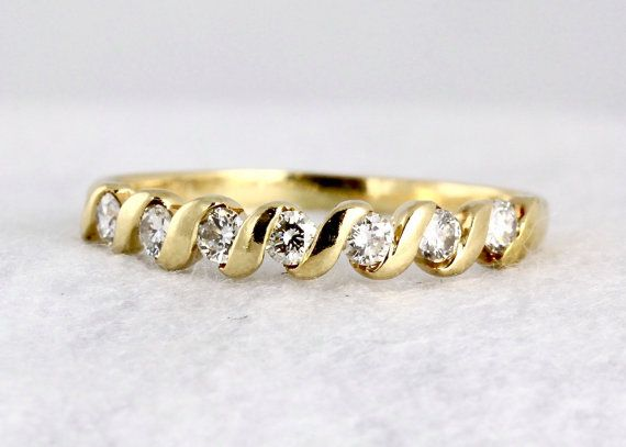 Vintage Diamond Eternity Anniversary Ring 14k Yellow Gold Half Eternity Diamond Wedding Band Vintage Diamond Anniversary Ring Stacking Ring