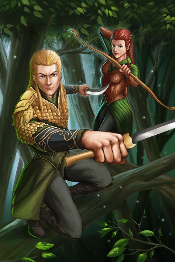 "Legolas and Tauriel by GenghisKwan.deviantart.com on @deviantART - From ""The Hobbit"""