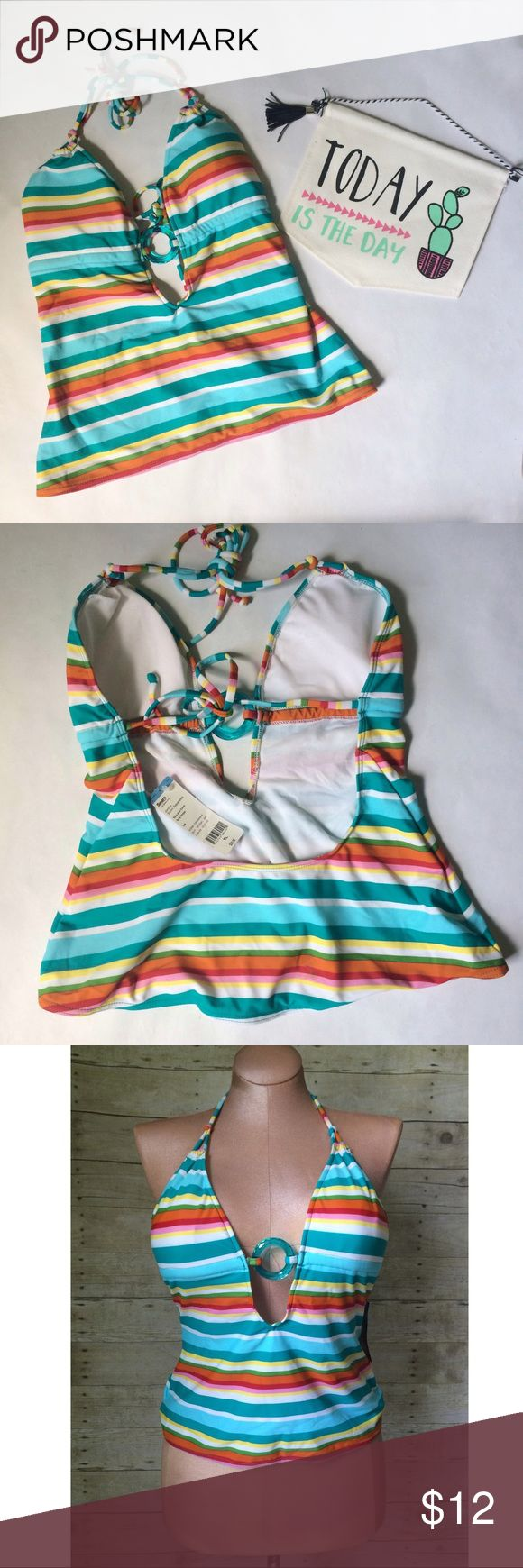 ✨NEW Listing✨Multi-color striped swimsuit top NWT Multi-color striped juniors swimsuit top with translucent plastic ring detail. Ties at neck and across back. Size XL. 80% nylon/20% spandex. Not interested in trades. NWT Personal Identity Swim