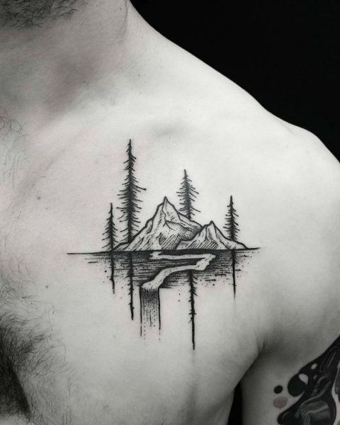 Mountain Tattoo On The Chest Styleoholic Tattoos On Neck