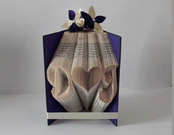1st anniversary paper gift. First anniversary love heart & initials folded book art. Gift for lovers, husband, wife, girlfriend, boyfriend - pinned by pin4etsy.com
