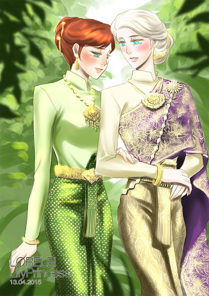 Anna and Elsa Thai National Costume by LORELEI-LilyPrincess