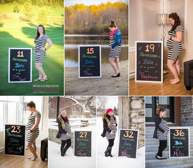 Évolution de grossesse pregnancy progression idea with weeks poster