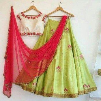 Poly Silk Machine Work Green Semi Stitched Lehenga - R051