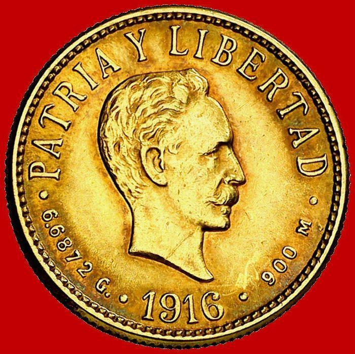 Cuba-4 gouden pesos Republiek Cuba Havana-1916 José Martí de buste  Cuba-4 pesos gouden munt (6.67 g 18 mm). In 1916 Republiek Cuba Havana munt geslagen. José Martí de buste.Uitstekende conditie mooie kleur. Prachtige rode patina. Mooie munt. .900 goud. Zeer schaars munt Kr 18 Fr-5Zie de foto's voor een betere indruk van de munt.10238  EUR 1.00  Meer informatie