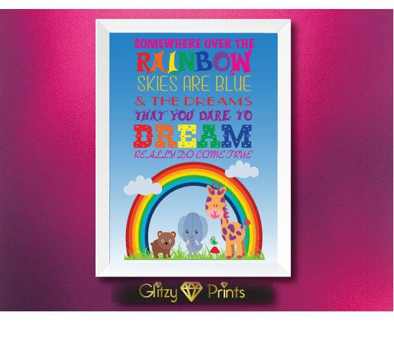 Nursery print Wall Art Baby / Childrens- Somewhere Over the Rainbow 8x10 or choose your size Unframed by GlitzyPrints on Etsy