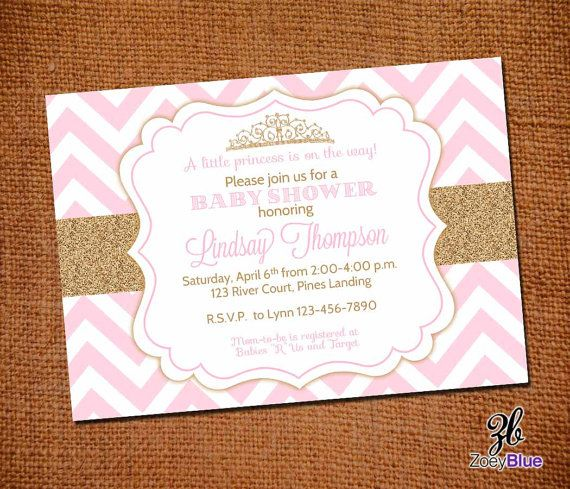 Princess Baby Shower Invitation Pink Gold Glitter Invitation New Baby Pink Gold Chevron Pattern- Digital File on Etsy, $10.00