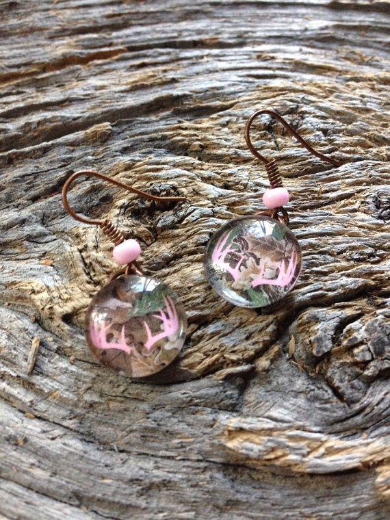 Deer earrings real tree camouflage earrings pink by EquusFancy