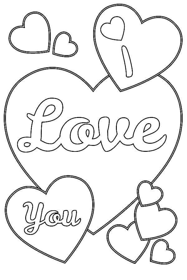 I Love You Heart Coloring Pages Kid Printables Heart Coloring