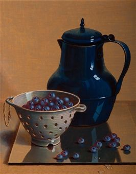 Henri Bol, Still life with blue coffee pot and blueberries in a collande, 1995, realism - art