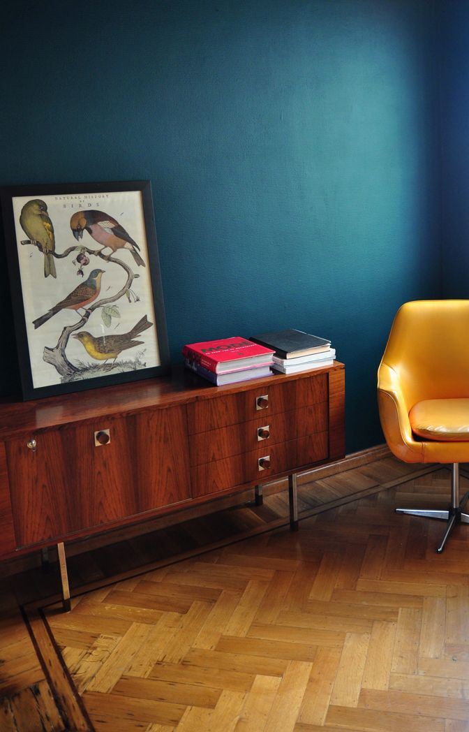 Dark teal walls + 1930's herringbone parquet floors. Appartment in Antwerp.