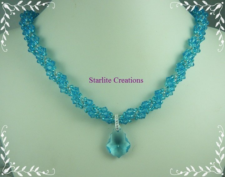 Swarovski Aquamarine Crystal Dutch Spiral Necklace with Baroque Teardrop Crystal