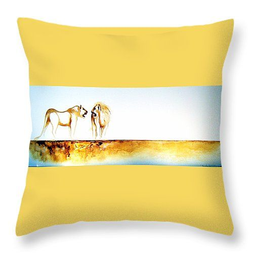 """African Marriage Throw Pillow 14"""" x 14"""" by Tracey Armstrong"""