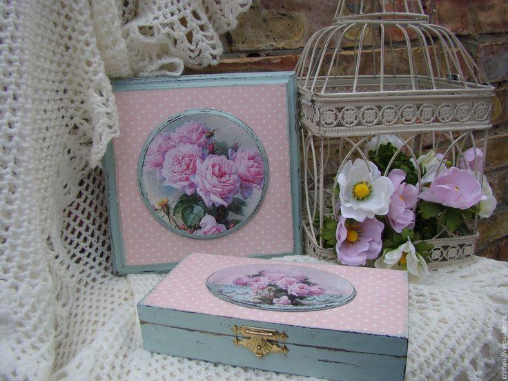 Купить Набор Винтажные розы - бледно-розовый, купюрница декупаж, шкатулка декупаж, шкатулка для мелочей