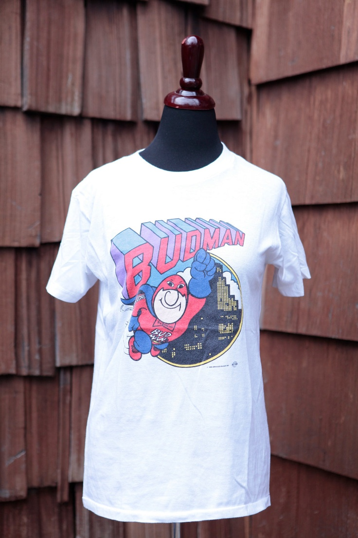 vintage BUDMAN Budweiser Bud t-shirt booze beer 1990 size M medium. $22.00, via Etsy.
