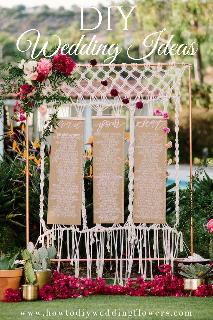 DIY Wedding Ideas ! Easy DIY Wedding Decorations, Invitations, Flowers and more www.howtodiyweddingflowers.com DIY Wedding Trends. Easy DIY Tutorials and How to Tips & Tricks! #weddingdiy #macrame #diywedding