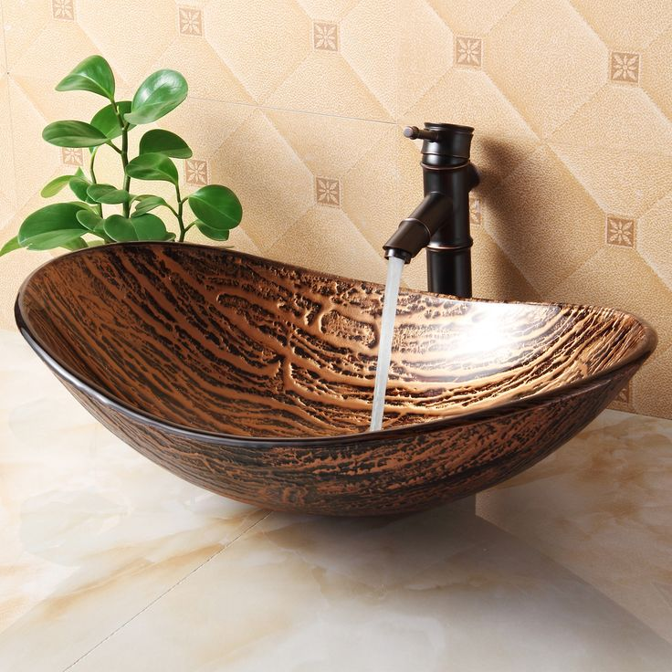 elite tempered glass hot melt multicolor pattern vessel sink brown size rv