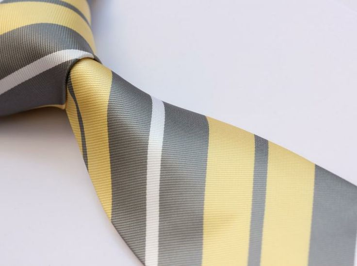 Ts4019y8 C Yellow Gray Stripe 3 4 Silk Clic Jacquard Woven Man Tie Necktie