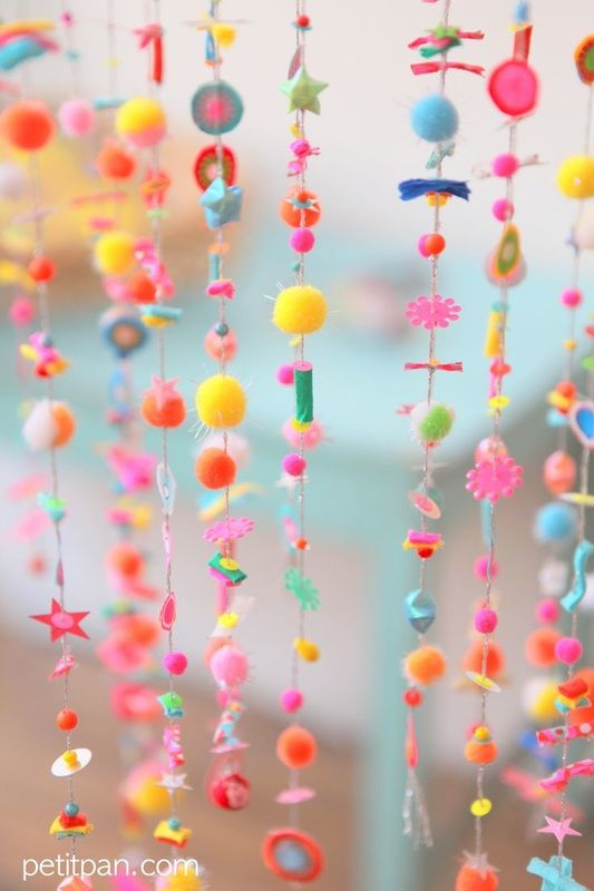 hanging beads and pom poms
