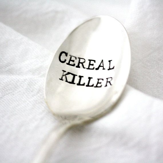 Cereal Killer spoon. Engraved silverware by Milk  Honey. As Seen On The Today Show with Kathie Lee and Hoda