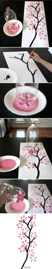 Cherry Blossom print from soda bottle art project