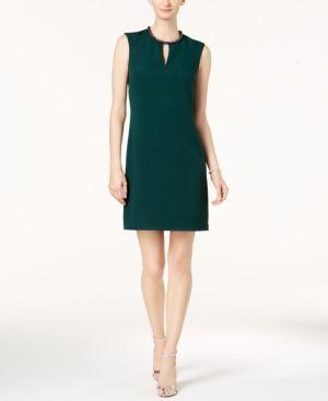 Donna Ricco Embellished Keyhole Sheath Dress - Green 16