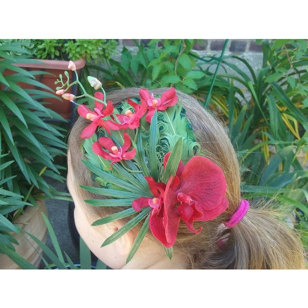 Hawaiian Luau hair piece, tropical hair flower, hula flower hair clip,... ($26) ❤ liked on Polyvore featuring accessories and hair accessories