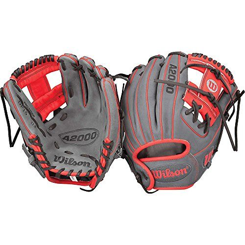 "Wilson A2000 Exclusive Gray/Red Dp15 11.5"" Baseball Glove  - Right Hand Throw"