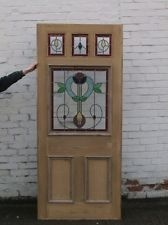 VICTORIAN EDWARDIAN RECLAIMED FRONT EXTERIOR DOORS WITH STAINED GLASS  'JERSEY'