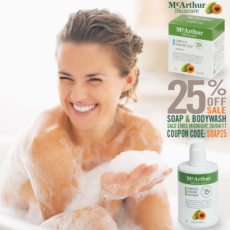 SALE ENDS MIDNIGHT TONIGHT   Save 25% OFF McArthur Skincare Soap & Bodywash in our online store using the coupon code: SOAP25 at the final stage of checkout.  SHOP NOW: http://mcarthurskincare.com/products/?pcat=soaps-washes  This offer is not available in conjunction with any other offer. Sale offer expires Midnight (AWST) Wednesday 26th April, 2017.  #mcarthurskincare #pawpaw #papaya #australianmade #skincare #naturalskincare #allnaturalbeauty #handmadesoap #naturalsoap #pawpawsoap…