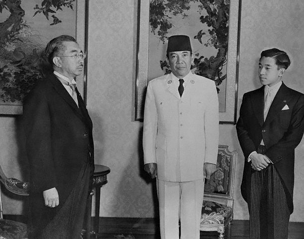 President Soekarno with Emperor Hirohito and Crown Prince Akihito