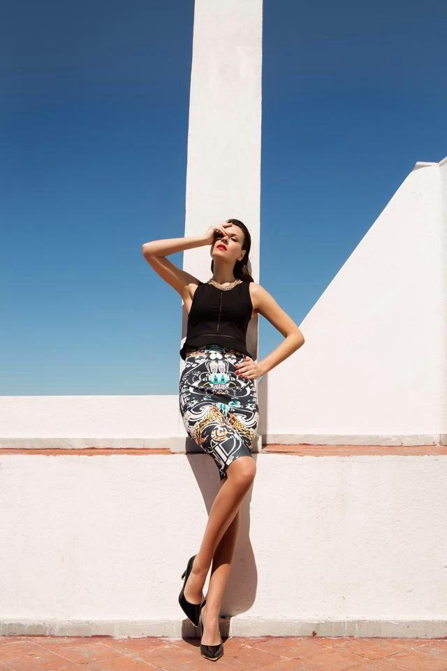 Peplum Top and Digital Print Skirt