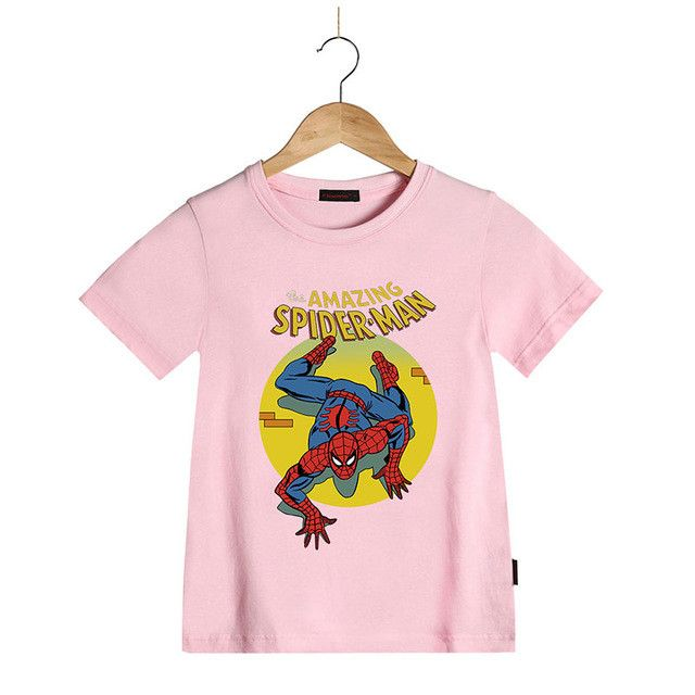 Cotton Short Sleeve Summer Children T-Shirts Marvel The Amazing Spiderman Kids Tees Boys T Shirt Girls Tops Children Clothing