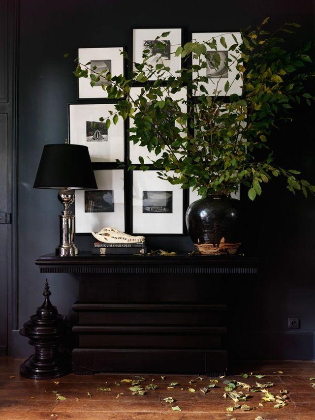 Art Collage - Console Table - Dynamic Decor - Dark Interior - Masculine Aesthetic