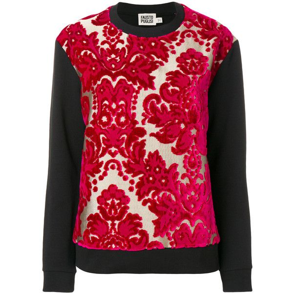 Fausto Puglisi Damask Jumper (1.725 BRL) ❤ liked on Polyvore featuring tops, sweaters, red top, cotton jumper, red jumper, jumper tops and jumpers sweaters