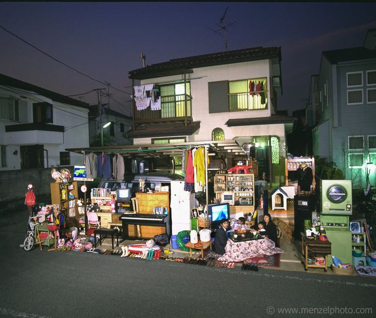 """The Ukita family in front of their home in Tokyo. From Peter Menzel's """"Material World"""" project, which photographs 30 statistically average f..."""