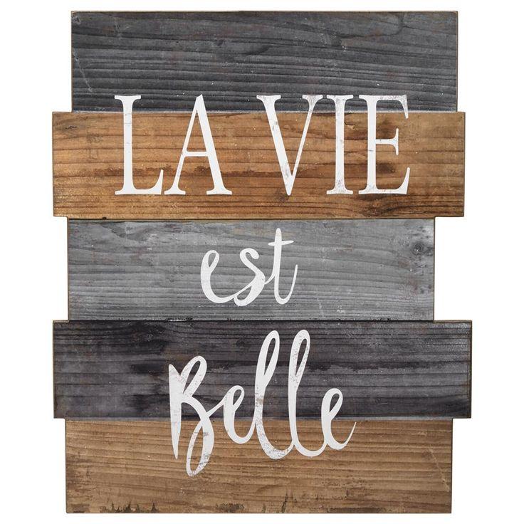 Décoration murale en bois La vie est belle | Bouclair.com