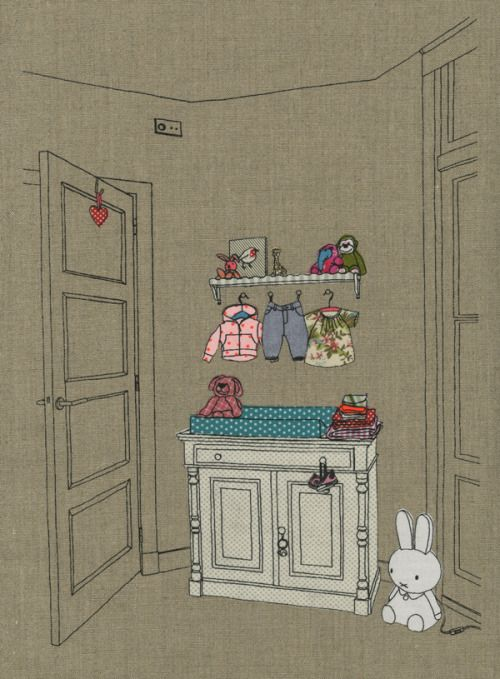birth announcement the future bedroom of robin, with all her new toys, clothes and miffy lamp year: 2012 silkscreen, illustration, collage