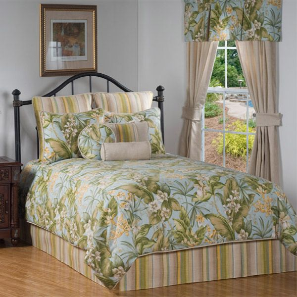 St Croix Tropical Blue Green And Yellow Comforter Set By